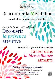 Image d'un flyer sur deux journées de méditation à Genève