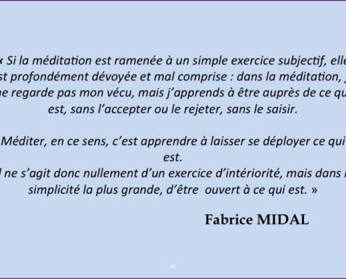 Citation de Fabrice Midal sur méditation et subjectivité