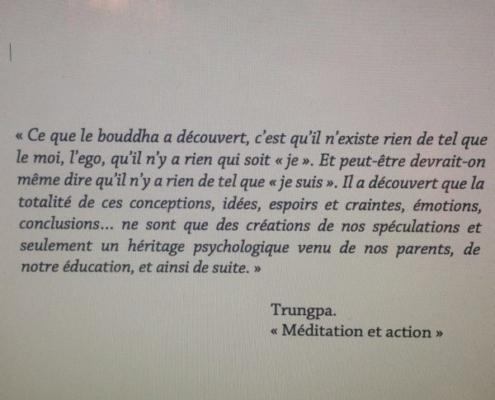 Citation de Trungpa tirée de Méditation et action