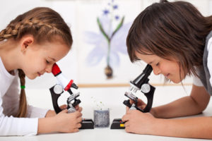 Photo de deux enfants vus de profil, en face l'un de l'autre, regardant chacun dans leur microscope