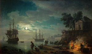Reproduction du tableau Vernet-Un-port-de-mer-au-clair-de-lune-Louvre