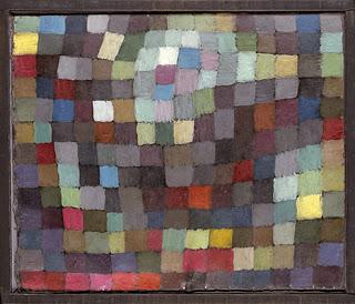 Reproduction d'un tableau de Paul Klee, où sont peints des carrés de couleur en mosaïque