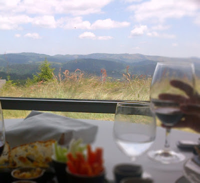 Photo d'une table de restaurant, avec une main tenant un verre à pied en premier plan, une belle vue sur une plaine fleurie et des montagnes au loin constituant l'arrière plan