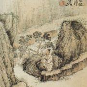 Une gravure repérentant Shitao accroupi au bord de l'eau