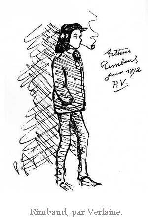 Dessin de Rimbaud, debout, fumant la pipe les mains dans les poches, par Verlaine
