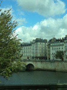Photo prise au bord d'un fleuve, un pont le traversant et plus loin, de beaux immeubles