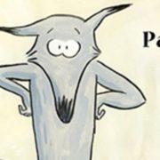 """Reproduction d'un loup de bande dessinée, debout les pattes sur les anches, le texte """"Parce que !"""" écrit à sa droite"""