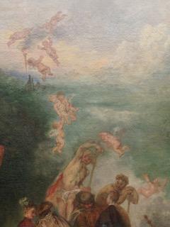 un détail du tableau de Watteau Embarquement pour CYrhère - on voit des anges qui tombent du ciel au-dessus de lamer