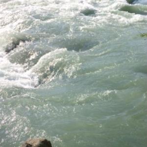 Photo de remous agitant une mer verte et écumeuse