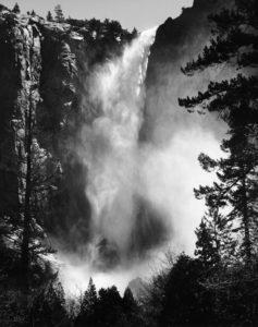 Photo de grande cascade derrière des arbres