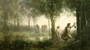 Tableau représentant Orphée, tenant sa lyre à la main et guidant Eurydice au travers d'une forêt. On aperçoit en arrière-plan un groupe de personnages se tenant debout au bord d'un étang.