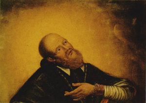 Portrait de François de Sales, les yeux levés vers les cieux et la main portée au cœur.