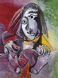 Portrait d'un adolescent par Pablo Picasso, peinture au traits noirs avec des aplats rouges, jaunes et verts.
