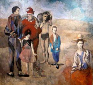 Tableau de Pablo Picasso représentant une famille de saltimbanques en tenues de scène