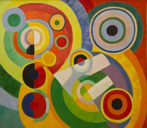 Tableau abstrait de Robert Delaunay avec des lignes concentriques colorées, dans des teintes vives à dominantes verte, rouge, orange et jaune.