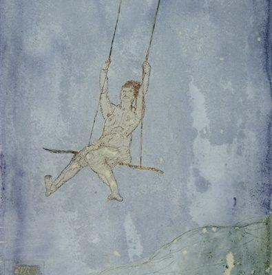 Tableau de Paul Klee représentant une femme nue sur une balançoire dans un ciel bleu et au-dessus d'une vallée verte.