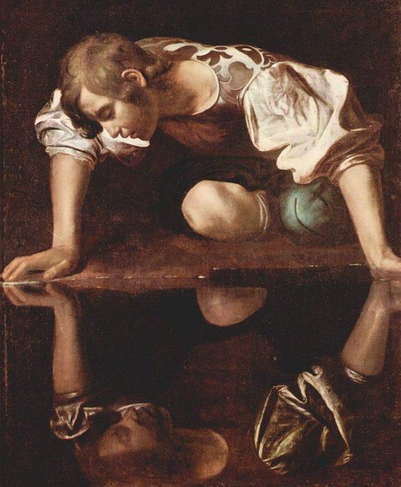 Tableau de Caravage dépeignant Narcisse contemplant son reflet