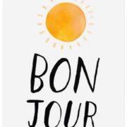 Dessin représentant un soleil en partie haute et, en-dessous, le mot bonjour écrit en lettres noires.