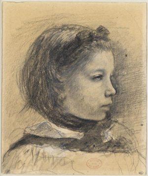 Dessin d'Edgar Degas, représentant le portrait d'une enfant, Giulia Bellelli, vue de profil.