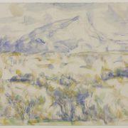 Dessin de Cézanne à l'aquarelle montrant la montagne Sainte-Victoire