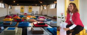 montage photo de la salle de pratique de l'École occidentale de méditation, fondée par Fabrice Midal, à Bruxelles et de sa Présidente et enseignante, Marine Manouvrier