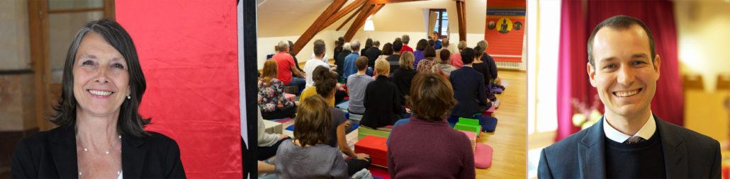 Montage photo des portraits de Dominique Sauthier et de Guillaumme Vianin, enseignants à l'École occidentale de méditation fondée par Fabrice Midal, et de l'ancienne salle de pratique à Genève