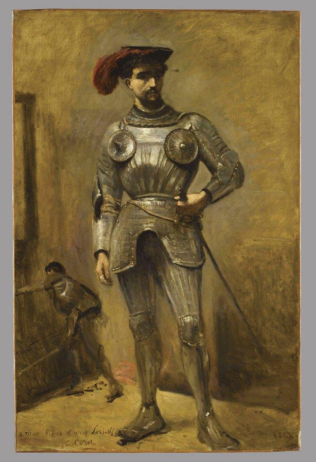 Tableau de Jean-Baptiste Camille Corot représentant un homme en armure debout portant une coiffe noire avec une plume rouge. Derrière lui, au loin, on voit un autre homme en armure au combat.