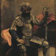 Tableau de Jean-Baptiste Camille Corot représentant un homme en armure assis devant un tissu rouge, s'appuyant sur son épée plantée au sol et le regard baissé.