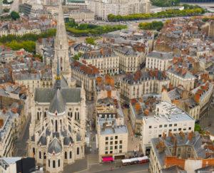 Photo aérienne d'une partie de la ville de Nantes