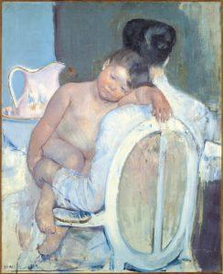 Tableau de Mary Cassatt montrant un bébé dans les bras de sa mère.