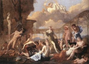 Tableau de Nicolas Poussin montrant la transformation de plusieurs personnage de la mythologie se transformant en fleur.