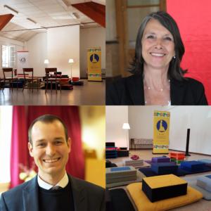 Montage photo du local de l'École occidentale de méditation, fondée par Fabrice Midal, à Genève et des deux enseignants de Suisse Romande, Dominique Sauthier et Guillaume Vianin