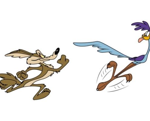 Dessin de l'oiseau bip bip poursuivi par le coyote.