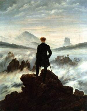 Tableau de Caspar David Friedrich montrant un homme de dos se tenant sur un rocher et contemplant une mer de nuages.
