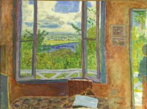 """Tableau de Pierre Bonnard intitulé """"Fenêtre ouverte sur la Seine à Vernonnet""""."""