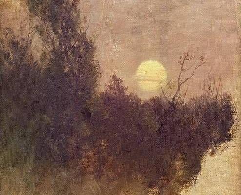 Tableau de Roman Kochanowski montrant un paysage nocturne.