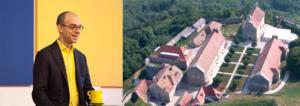 Montage photo montrant à gauche Fabrice Midal, fondateur de l'École occidentale de méditation et, à droite, une vue aérienne du Fort Saint-André