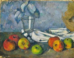 """Tableau de Paul Cézanne intitulé """"Verre et pommes"""" peint entre 1879 et 1880."""