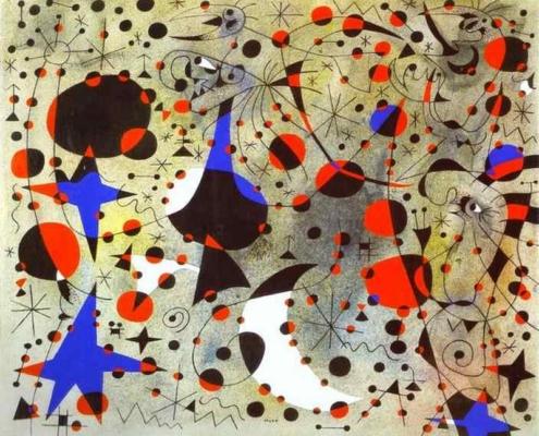 """Tableau de Joan Miró intitulé """"Constellation chant du rossignol à minuit et la pluie matinale"""" et datant de 1940."""
