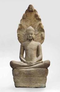 Image d'une sculpture de Bouddha Muchalinda