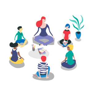 Image représentant une adulte et cinq enfants assis en cercle et pratiquant la méditation