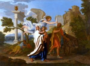 """Image du tableau """"La fuite en Égypte"""" de Nicolas Poussin"""