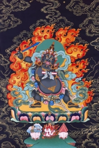 Image d'une déité courroucée de la tradition thibétaine