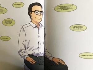 """Photo de deux pages du roman graphique """"Méditer, le bonheur d'être présent"""" de Fabrice Midal"""