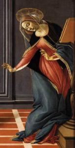 """Image de la Vierge dans le tableau """"L'Annonciation"""" de Botticelli"""