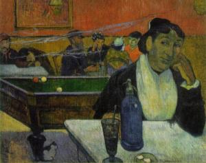 Reproduction d'un tableau représentant une femme assise à une table de café