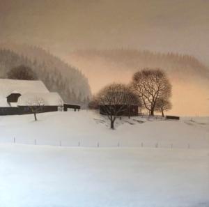 Photo d'un paysage rural entièrement recouvert de neige
