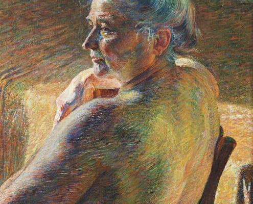 Peinture représentant une femme âgée de dos, assise, dévêtue, la tête de profil à gauche