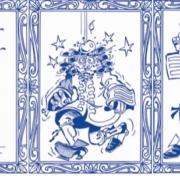 Image de trois cases de bande dessinée bleue sur fond blanc montrant Newton recevant une pomme sur la tête et découvrant la gravité