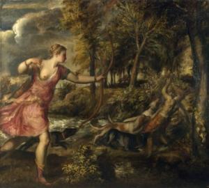 """Tableau """"La mort d'Actéon"""" de Titien"""